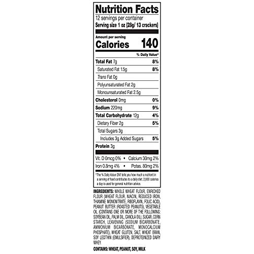 Lance Sandwich Crackers Minis, Whole Grain Peanut Butter, 12 Count Snack Packs (Pack of 4)