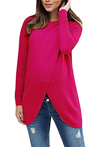 Daomumen Women's Chunky Wrap Sweaters Button Down Cowl Neck Knit Asymmetrical Hem Maternity Casual Pullover