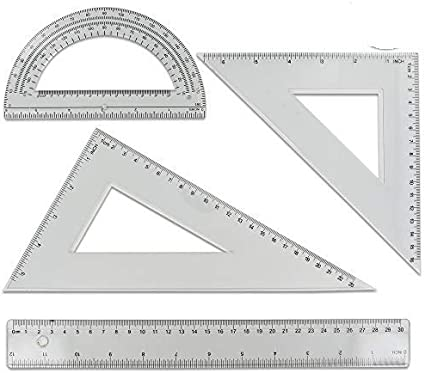 Juego de 4 piezas de regla de geometría – ideal para la escuela, el hogar, la oficina – (2 unidades) – por Emraw: Amazon.es: Oficina y papelería