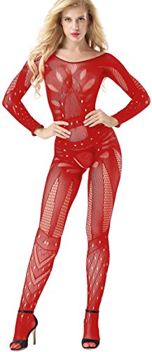 Red Bodystocking (The Victory of Cupid Womens Sexy Fishnet Floral Crotchless Bodysuits Suspender Bodystocking, Red, One Size)