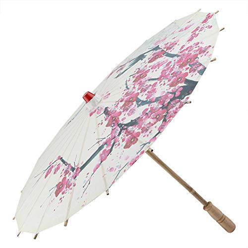 (DIY Paper Umbrellas, Classical Handmade Oil Paper Umbrella Painting Dancing Props Rainproof Parasol with Plum Blossoms & Wooden Handle )