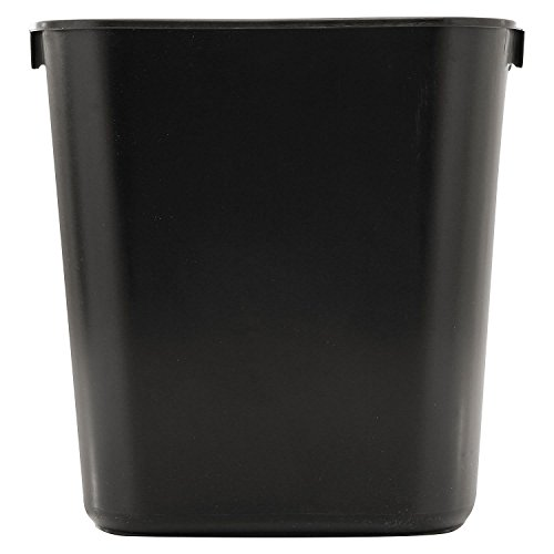 Rubbermaid Commercial Soft Molded Plastic 3.5-Gallon Trash Can, Rectangular, Black 3 Pack