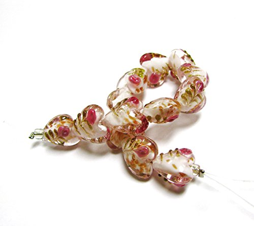 Flower Design Bead - Linpeng 080703-03S Flower Design Lampwork Heart Glass Bead Strand