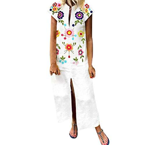 s, Ladies Printed Sleeveless V-Neck Maxi Dress Hem Baggy Kaftan Long Dress ❤️Sumeimiya White ()