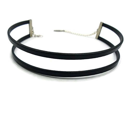 Arthlin Double Strands Genuine Black Leather Flat Cord Choker Necklace for Women, High Quality, Made in USA