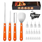 Angmart 4 Pieces Halloween Pumpkin Carving kit with 18 Pieces Glow-in-The-Dark Pumpkin Teeth, Professional Stainless Steel Pumpkin Carving Tools Set for Kids and Adults
