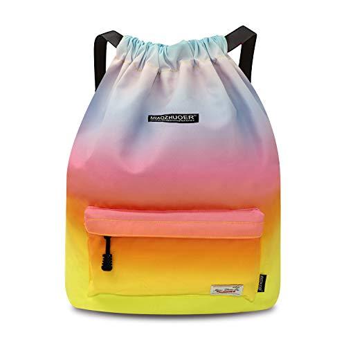 IVIM Waterproof Drawstring Bag, Gym Bag Sackpack Sports Backpack for Men Women Girls (50-Rainbow)]()