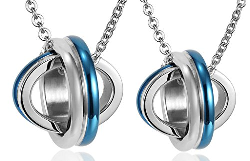 Daesar His & Hers Necklace Set Couples Stainless Steel Lover's Planet Matching Pendnat