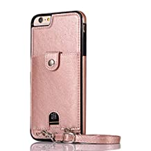 Yobby Wallet Case for iPhone 6 Plus,iPhone 6S Plus Case,Slim Back Card Holder Leather Handbag Buckle Case with Detachable Crossbody Wrist Strap Purse,Shockproof Bumper Protective Cover-Rose Gold