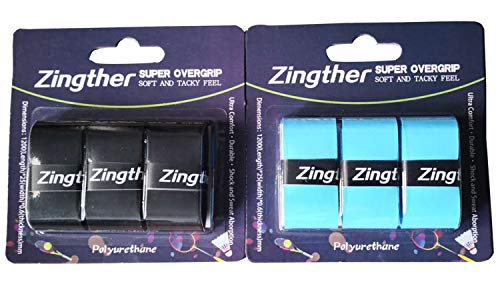 Zingther Super Tacky Grip Overgrip Tape for Tennis Racket, Squash Raquet, Racquetball Racquet, Badminton Racket and Pickleball Paddle Tacky Feel (6-Grip, Blue/Black)