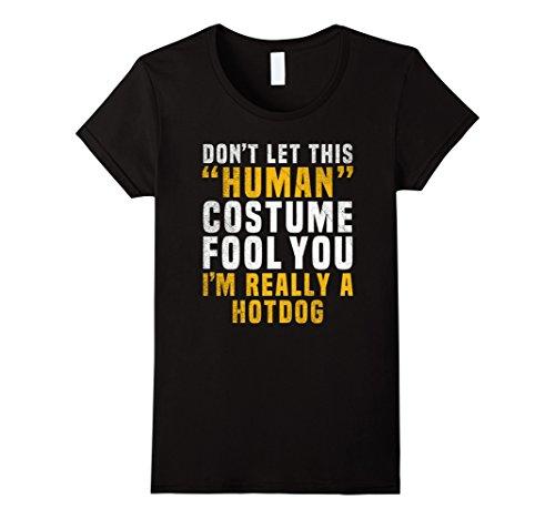Hot Halloween Costumes Ideas (Womens Hotdog Funny Halloween Shirt Easy Costume Idea Small Black)