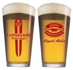 Kona Brewing Co. Longboard Lager Beer Pint Glass | Set of 4 Glasses