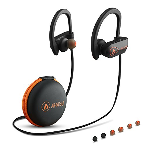 Orange Earphones Headphones (AHADU Bluetooth Headphones, Best Wireless Sports Earphones, Sweat-proof Noise Cancelling Earbuds with Microphone for Gym Workout Running,10 Hours Battery Life)