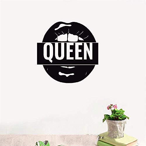 Tuiope Wall Stickers Vinyl Words Sayings Removable Lettering Queen Sexy Lips for Girls Room -