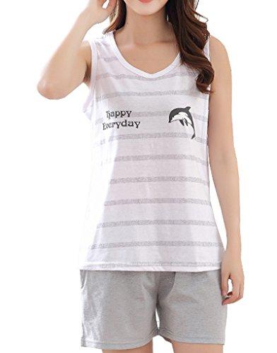 Vopmocld - Pijama sin mangas para niñas de 7 a 14 años, Gris, Medium/7-8 años