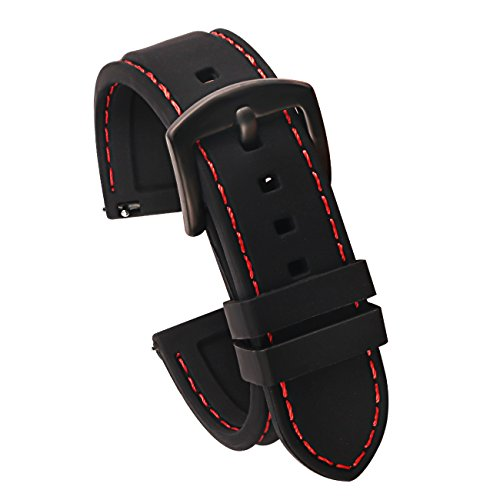 22mm Quick Release Silicone Watch Strap for Watches and Smartwatches Replacement Watch Band Black(Red Stitching Black Buckle) (Pulsar Mesh Watch)