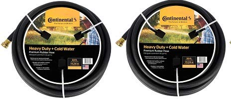 Continental Premium Cold Water Heavy Duty Black EPDM Garden Hose, 5/8 ID x 50 Length Reel (2-(Pack)) by Continental