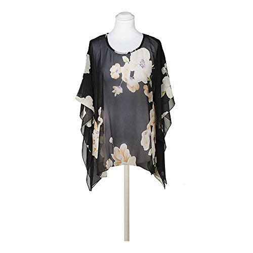 Schwarz Floral Print Cover-Up – One Size