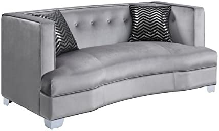 Coaster Home Furnishings Bling Game Upholstered Loveseat Silver