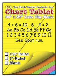 5 Pack TOP NOTCH TEACHER PRODUCTS CHART TABLETS 24X32 ASSORTED BLANK