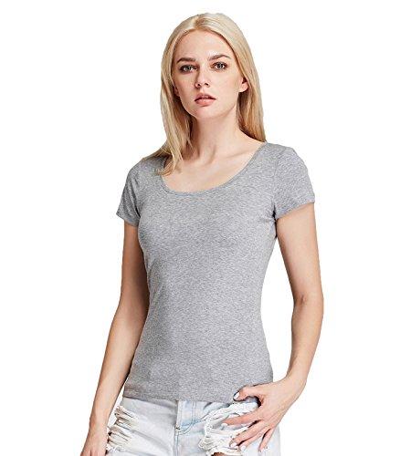 Liang Rou Women's Mini-Ribbed Stretch Scoop Neck T-Shirt Light Gray S