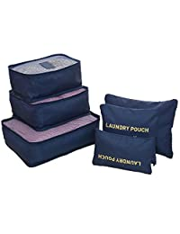 6 Sets Packing Cubes Travel Luggage Packing Organizers with Laundry Bag (Colour: Blue)