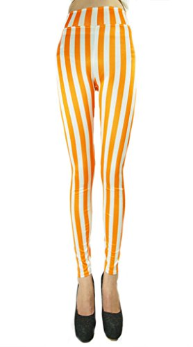 Ouye Women's Ankle Length Vertical Striped Stretchy Leggings , White and Orange, One Size ()