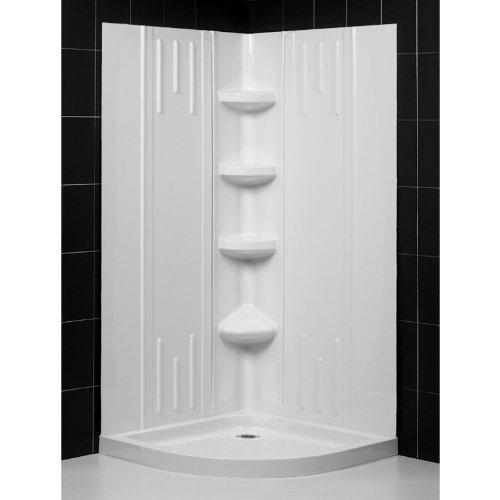 dreamline dl614201 slimline 33inch by 33inch quarter round shower base and qwall2 shower back walls kit