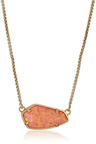 "Kendra Scott Cami Rose Gold Coral Kyocera Opal Pendant Necklace, 16"" + 2"" Extender"