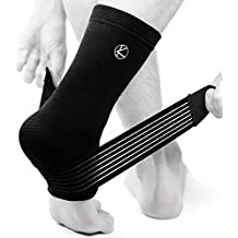 Achilles Tendonitis Tendon Foot Sleeve for Sprained Ankle, Stabilizing, Heel Spur, Arch Support, Reduce Swelling, Plantar Fasciitis Sock with Adjustable Compression Wrap Strap Brace for Women and Men