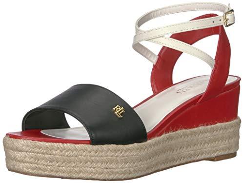 Lauren Ralph Lauren Women's Delores Sandal, BLACK/RL2000 RED/Vanilla, 5 B US