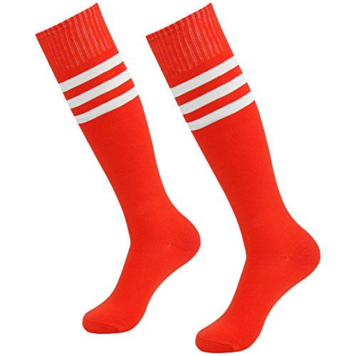 3street Youth School Uniform Keep Warm Stripe Over Calf Sport Football Tube Socks for Christmas Red+white stripe 2-Pairs,7-13