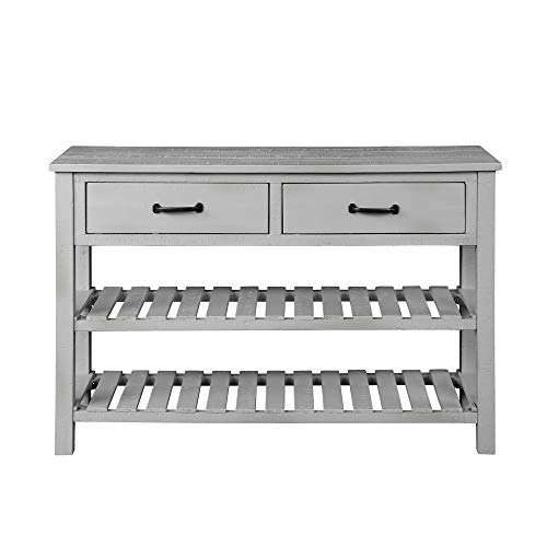 Mooseng Rustic Sofa, Industrial Console Table for Entryway Hallway Living Room with 2 Drawers and 3 Shelf Open Bookshelf, 45 Inch, Gray