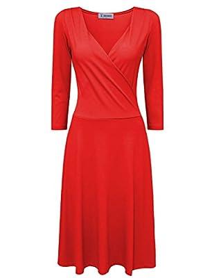 Tom's Ware Women Stylish Surplice Neckline 3/4 Sleeve Skater Dress