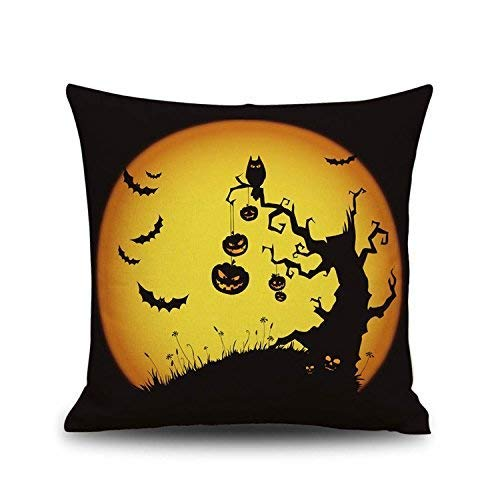 Halloween Decoration Pillowcase Linen Pillow Case Pumpkin Quirky Bat Dancing Sorcerer Cat Linen Printed Pillow Case Pillow Cover Decorative Pillowcase 18 X 18Inches 1pcs -