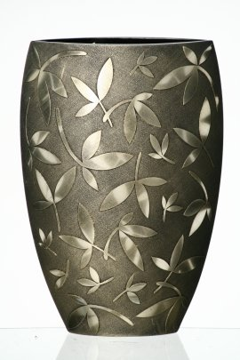 Large Handmade Glass Vase - Decorated with Sandblasted and Painted Leaves - Mouth Blown Lead Free Glass - Decorative Vase Centerpiece - Copper and Gold - 11.8 inch (30 cm)