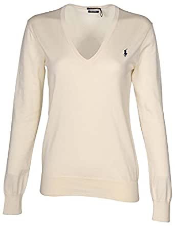 POLO RALPH LAUREN Womens Pima Cotton V-Neck Sweater (X-Small, Andover Cream)