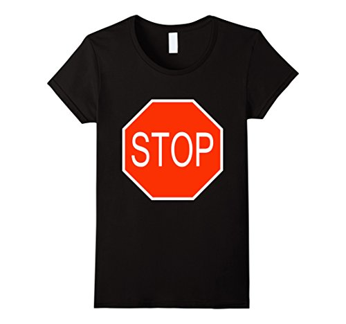 Womens Stop Sign Simple Easy Halloween Costume T-Shirt Small (Stop Sign Toddler Costume)