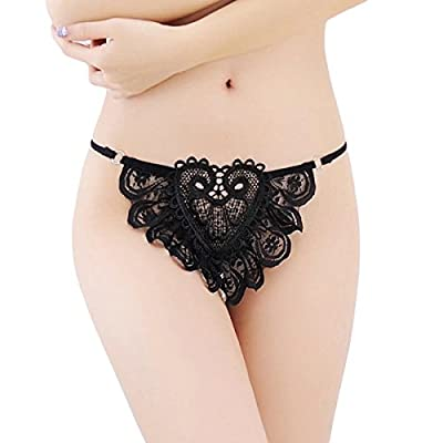 HitZoom Women Sexy lace lingerie Open Crotch Thong G Strings With Pearl Massage