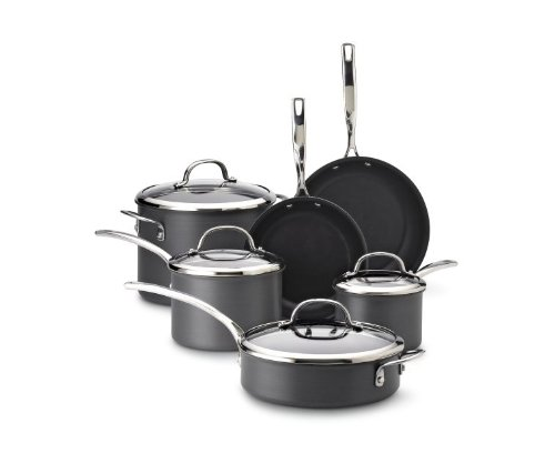 Kenmore 09590 10 Piece Hard Anodized Interior Cookware Set in Black (Pots Pans And Kenmore)