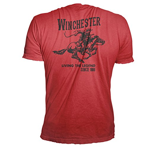 Winchester Mens Cotton Vintage Rider Graphic Short Sleeve T-Shirt XXXL Red