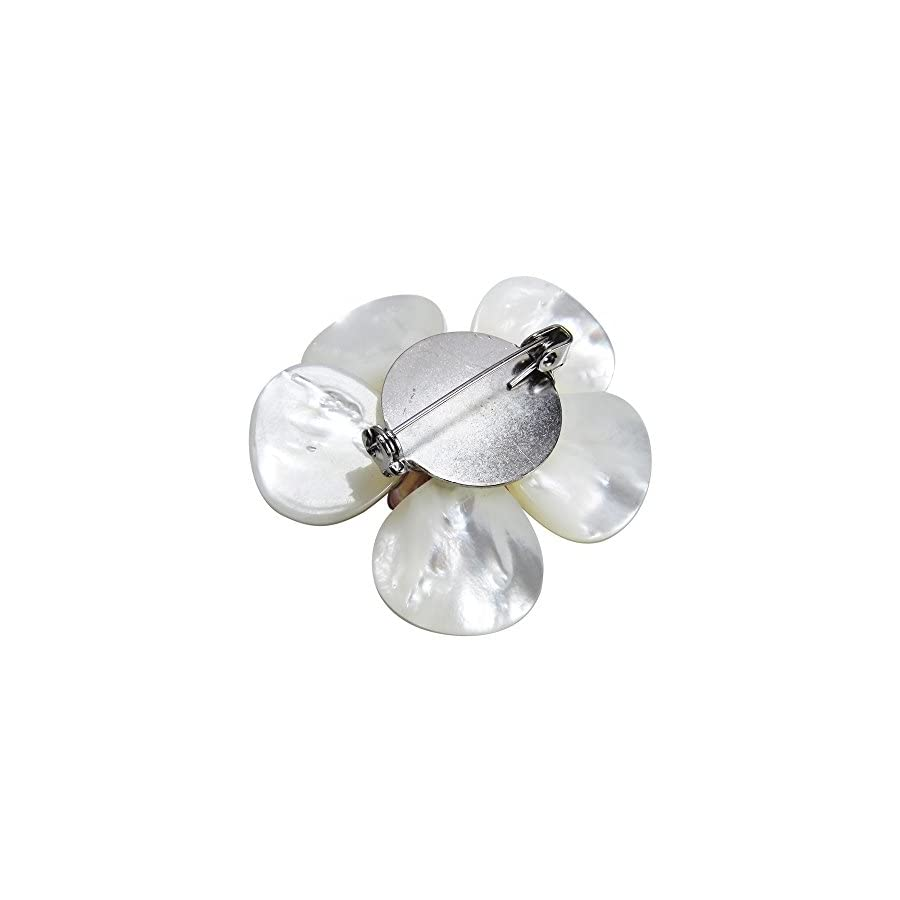 AeraVida White Plumeria Mother of Pearl and Cultured Freshwater Pink Pearls Floral Pin/Brooch