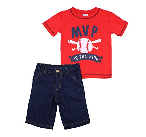Turtle Bay Kids Toddler Boys 2 Piece 'MVP' Printed Shirt and Denim Shorts Set, Red, Size (Guy Outfit Ideas)