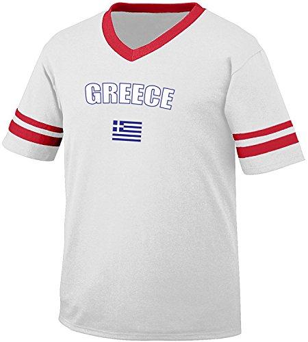 fan products of Greece Country Flag Men's Retro Soccer Ringer T-shirt, Amdesco, White/Red Large
