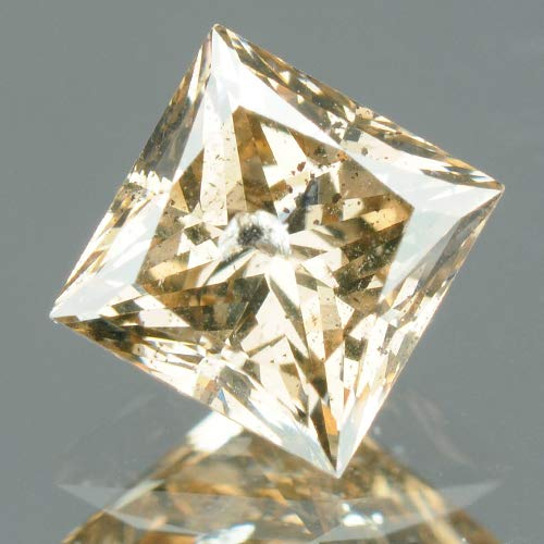 (0.72 cts CERTIFIED Princess Cut Fiery Brown Color SI2 Natural Loose Diamond 7495)