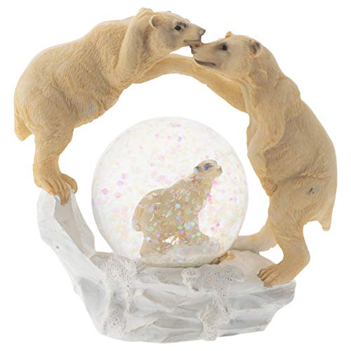 Elanze Designs White Polar Bear Family Figurine 45MM Glitter Water Globe -