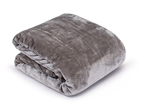 (Internet's Best Plush Velvet Mink Throw Blanket | Gray| Thick Ultra Soft Couch Blanket | Warm Sofa Throw | 100% Microfiber Polyester | Easy Travel | Bed | 50 x 60)