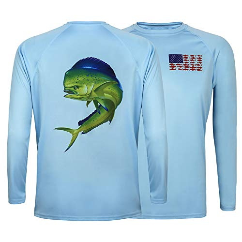 (HDE Performance Fishing Shirts for Men - Long Sleeve UPF 50 Sun Protection Quick-Dry Outdoor T-Shirt)
