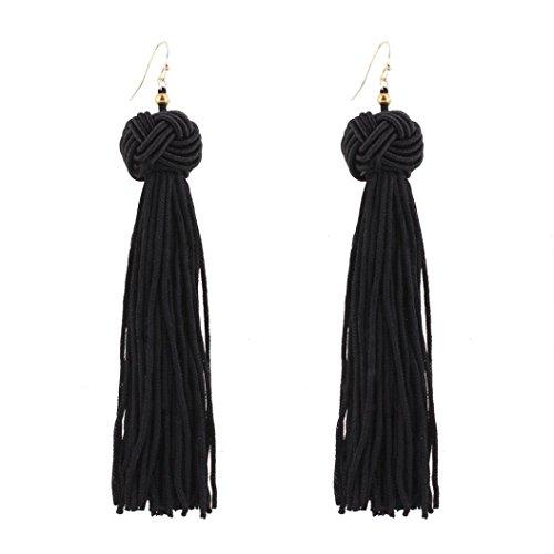(Lavany Women's Bohemian Long Drop Earrings Fashion Weave Tassel Earrings Jewelry (Black))