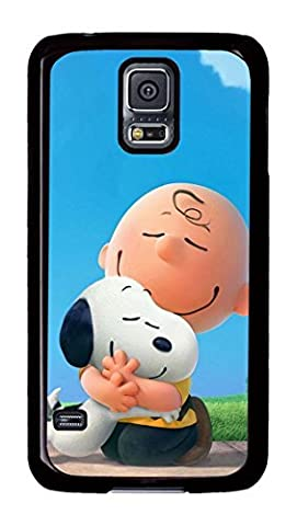 S5 Case, Galaxy S5 Cases, Customized Snoopy And Charlie Brown Hard PC Black Case Protective Phone Cases for Samsung Galaxy (Snoopy S5 Case)